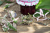Gift of damson jam and tiny wreath of heather