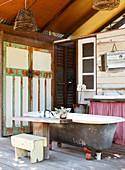 Rustic bathroom in a converted barn