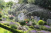 Irrigating garden with lawn sprinkler
