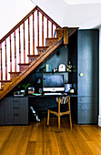 Home office with black accessories under the stairs
