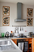 Four pictures of butterflies flanking extractor hood in kitchen