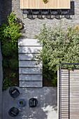 View down into split-level garden