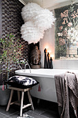 Lavishly decorated grey bathroom in romantic Bohemian style