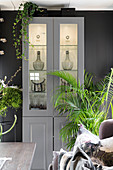 Illuminated display case and houseplants against grey wall