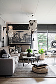 Bohemian-style living room in shades of grey