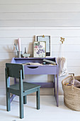 Child's chair at purple desk below sloping ceiling