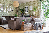 Cosy living room with floral wallpaper