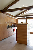 Fitted kitchen in open-plan interior