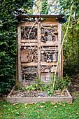 DIY insect hotel in garden