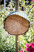 DIY insect hotel with metal roof