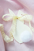 Paper Easter bunny with lace ribbon