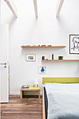 Open ceiling in minimalist bedroom