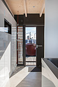 Modern houseboat: custom kitchen