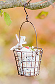 Bird food in wire basket