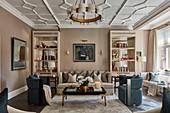 Elegant, symmetrically arranged living room
