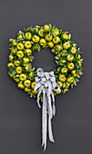 Wreath made from fake green apples