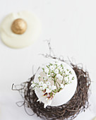 Delicate Easter arrangement with gypsophila in egg shell