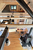 Interior with exposed roof structure in converted barn