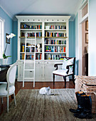 Study with light blue walls and white bookcase with ladder