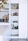 Open kitchen cupboard in modern white kitchen