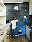 Boys in front of chalk wall in the kitchen