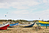 Colourful old boats on beach