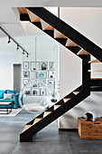 Staircase in loft-style maisonette apartment