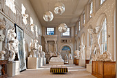A collection of large plaster casts in the orangery
