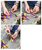 Instructions for making tassels from strips of fabric