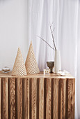DIY rattan decoration on sideboard