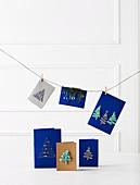DIY Christmas cards as decoration
