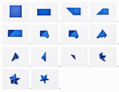 Fold blue paper stars