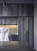 Modern minimalist kitchen in black