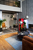 Multifunctional interior of masculine studio apartment