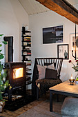 Wood-burning stove in cosy corner of living room