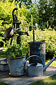 Old garden pump, zinc buckets and zinc watering can