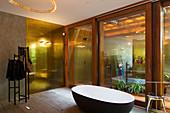 Free-standing bathtub in bathroom with glass walls