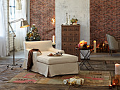 Loft-style living room with Christmas decoration