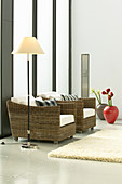 Wicker armchairs in elegant, modern living room