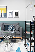 Modern living room in shades of blue with graphic patterns