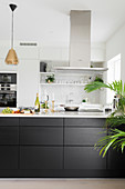 White wall units and black counter in open-plan kitchen