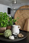 Basil, artichoke, garlic and ginger on plate
