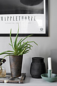 Candlestick, vase and houseplant on shelf against stone-grey wall