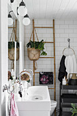 Bohemian-style bathroom with ladder shelves and plant in hanging basket