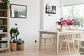 Houseplants in Scandinavian-style dining room