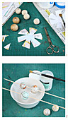 Covering wooden beads with paper maps