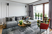 Panelled wall in elegant living room in shades of grey