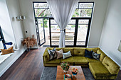 Top view of green sofa set and coffee table