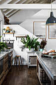 Russian country style kitchen with open roof and stairs