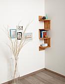 Handmade, wooden, zigzag corner shelves